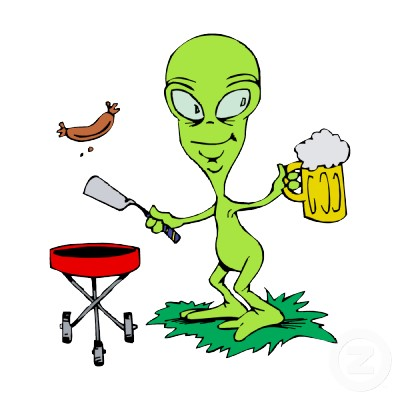 Alien With Beer Mug Funny Cartoon Picture