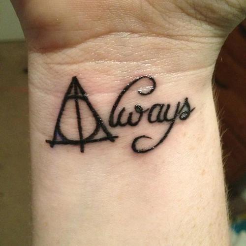 Always Deathly Hallows Tattoo On Wrist By Catarina Freitas