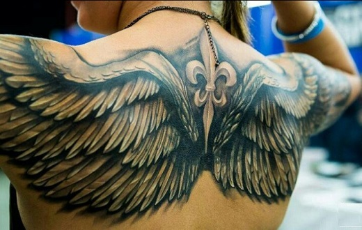 Amazing Black And Grey Wings Tattoo On Upper Back