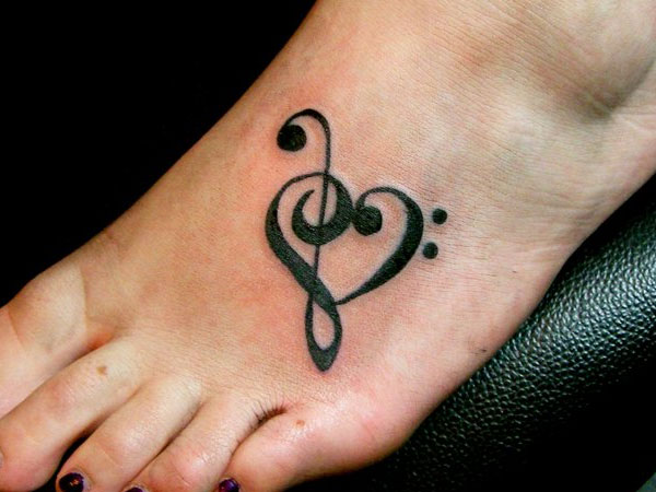 awesome black treble clef heart tattoo on girl foot rh askideas com heart treble clef tattoo treble clef love heart tattoo