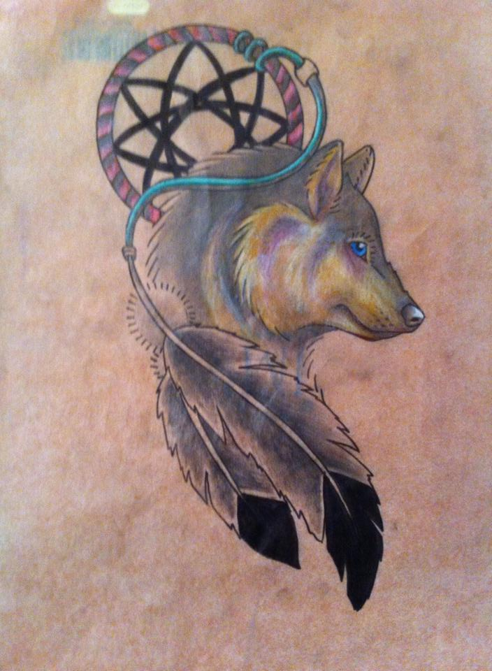 40 Dreamcatcher Wolf Tattoo Designs Images And Pictures Inspiration Wolf Head Dream Catcher