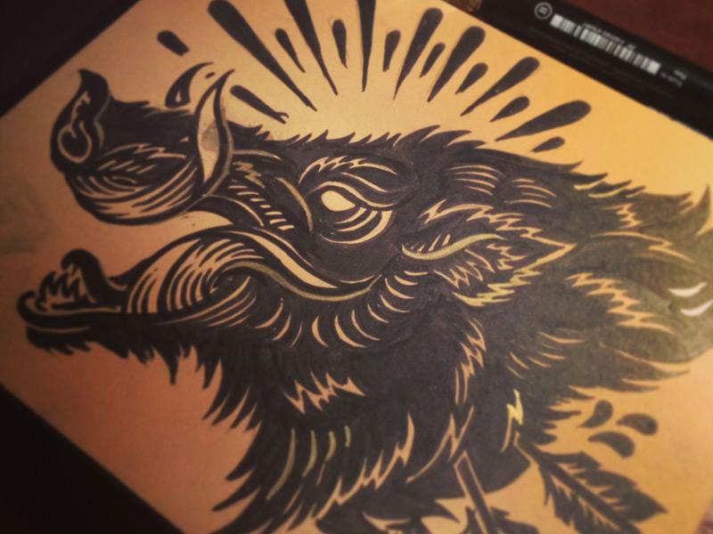 black ink boar tattoo design by derrick castle rh askideas com Chinese Zodiac Boar Tattoos Wild Boar of Biker Tattoos