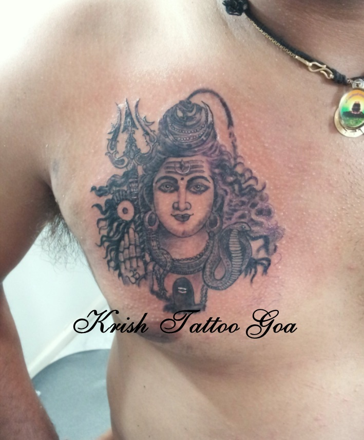 4e988b61b Black Ink Lord Shiva With Trishul Tattoo On Man Chest By Krish