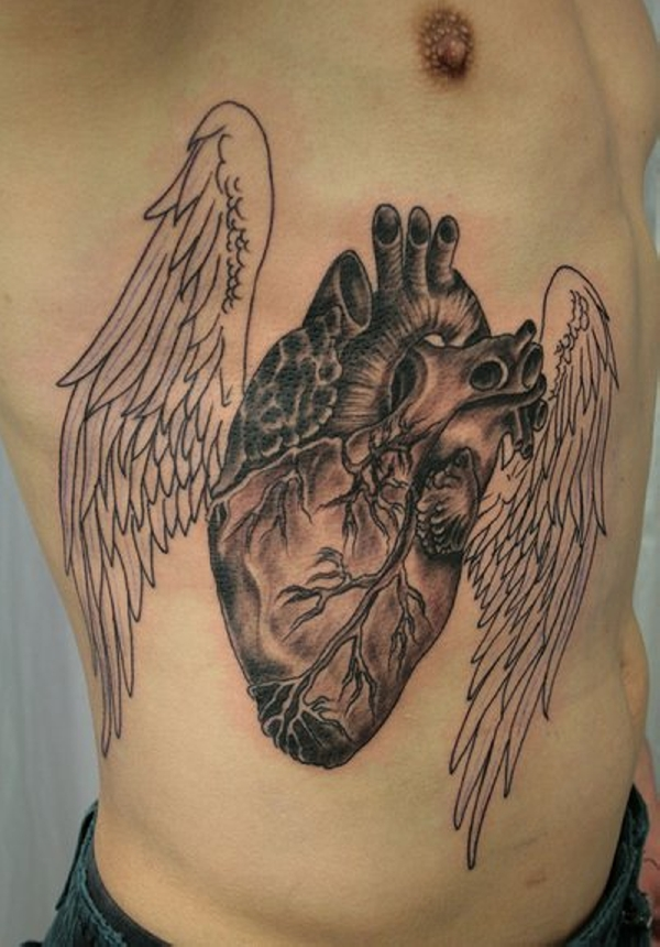 Sacred Heart With Key Tattoo Designs For Man