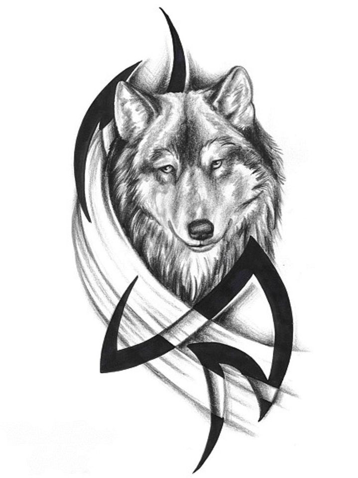 dd75ec844b05f Black Ink Tribal And Wolf Head Tattoo Designs
