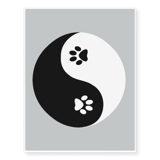 c36e04e70c94a Black Leopard Paw Print In Yin Yang Tattoo Design