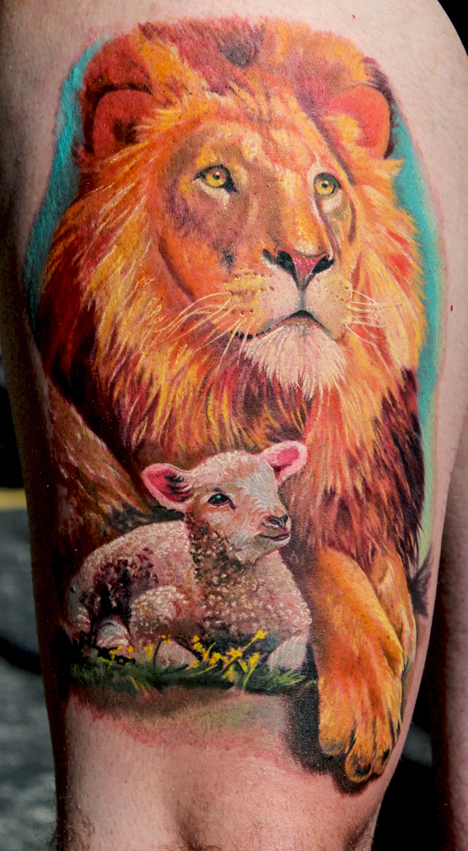 Colorful Lion With Sheep Tattoo Design For Sleeve By Todo Brennan for Lion And Lamb Painting  66plt