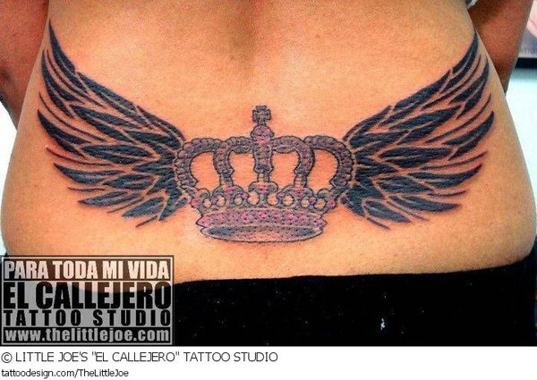 10 cool wings tattoos images pictures and photos ideas for Crown tattoos on lower back