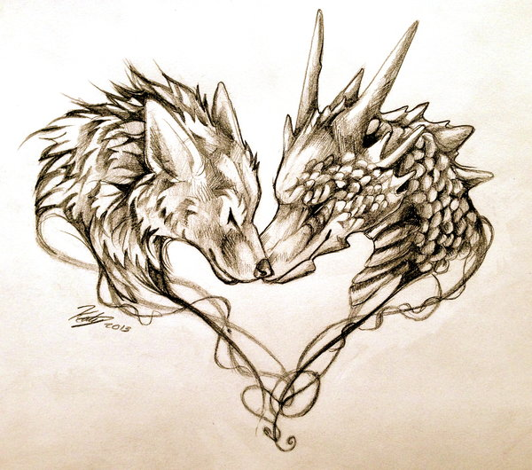 Gallery For gt Dragon Love Tattoo Designs