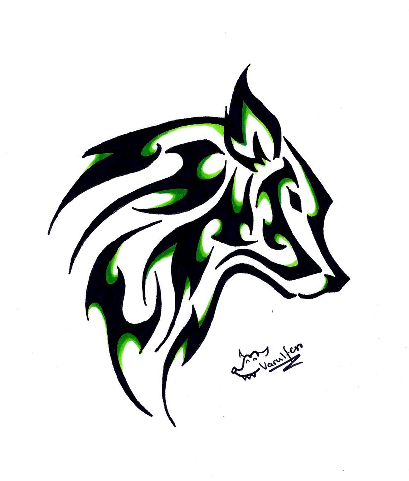 green and black ink tribal wolf head tattoo design
