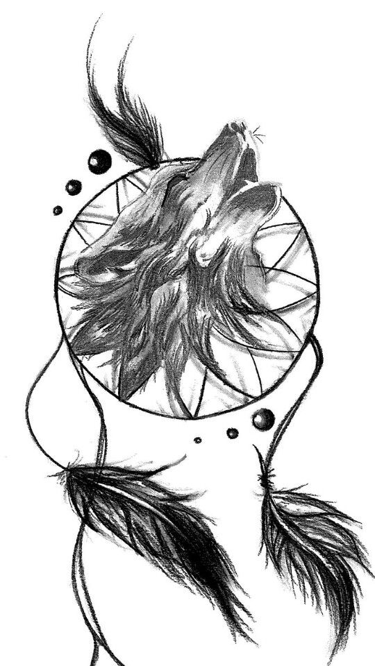 40 Dreamcatcher Wolf Tattoo Designs Images And Pictures Interesting Wolf Head Dream Catcher
