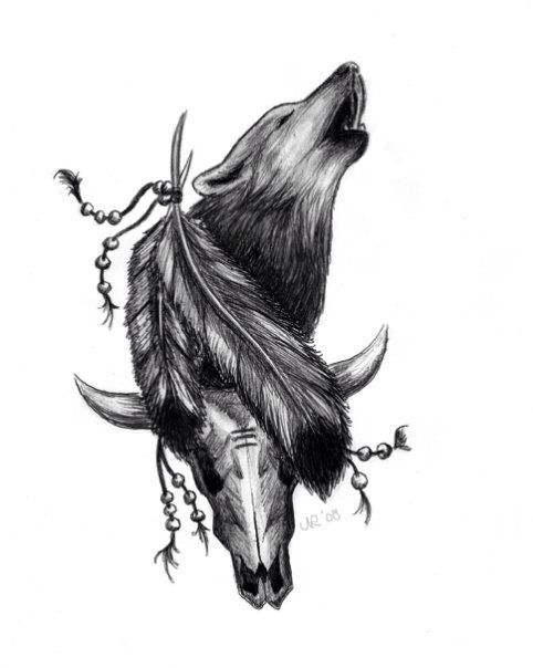 49 latest wolf tattoo designs and ideas for Wolf tattoo with feathers