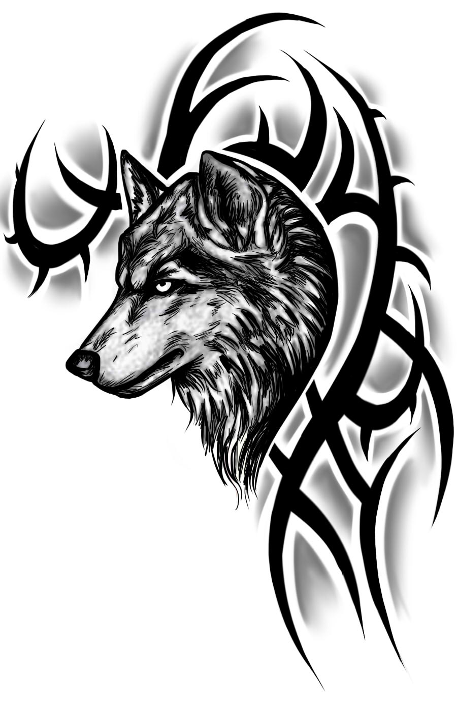 Tattoo design picture - Nice Black Tribal And Wolf Tattoo Design