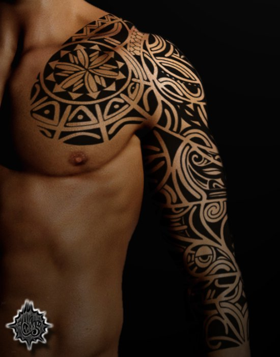 21 awesome tribal sleeve tattoos designs images and pictures for Black people tattoo sleeves
