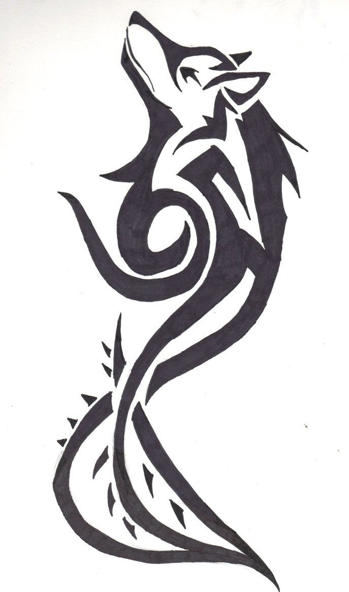 24 simple wolf tattoo art design and ideas for tattooing for Tribal wolf tattoo
