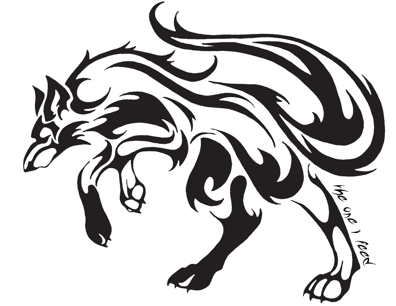 easy tribal wolf drawing - photo #20