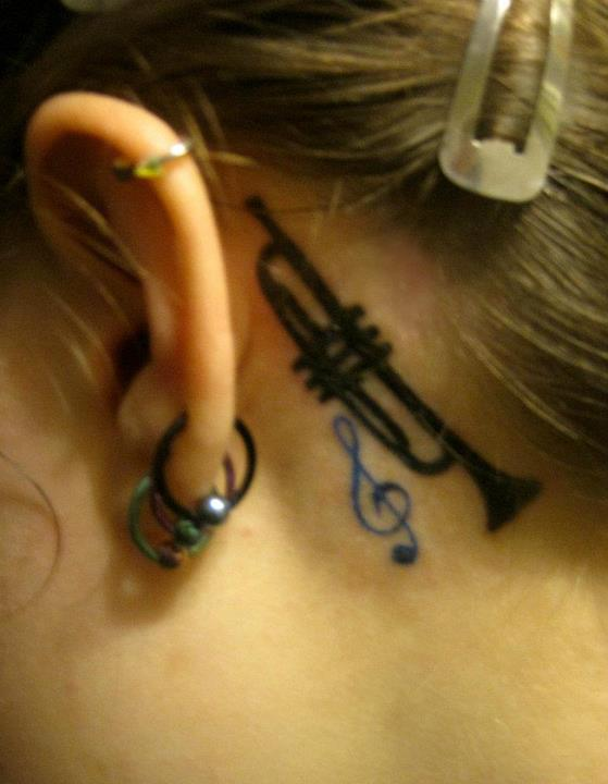 Treble Clef With Trumpet Tattoo On Girl Behind The Ear By Corissa
