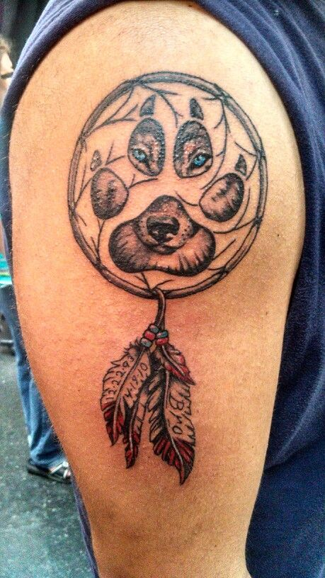 25 dreamcatcher wolf tattoo designs images and pictures for Wolf tattoo with feathers