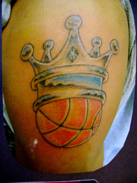 amazing crown with basketball tattoo on shoulder by toast rh askideas com Basketball On Fire Tattoo Designs Basketball Tattoos with Clouds