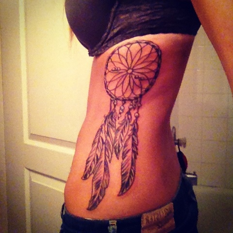 Dream Catcher Tattoo On Rib Cage