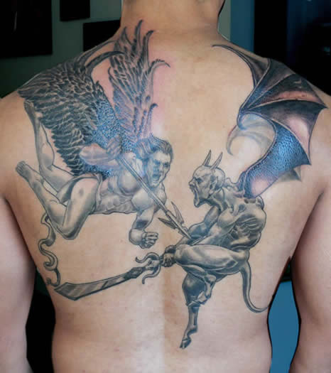 75309b01f Angel And Demon Fight Tattoo On Man Full Back