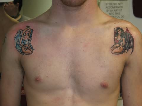 6c8e871df Angel Girl And Devil Girl Tattoo On Man Both Shoulders