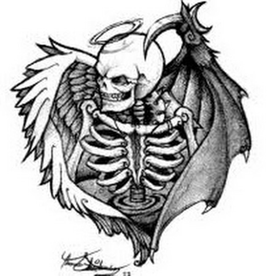 Angel Skeleton With Angel And Demon Wings Tattoo Design