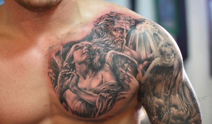 22 inspiring angel chest tattoo for Religious chest tattoos