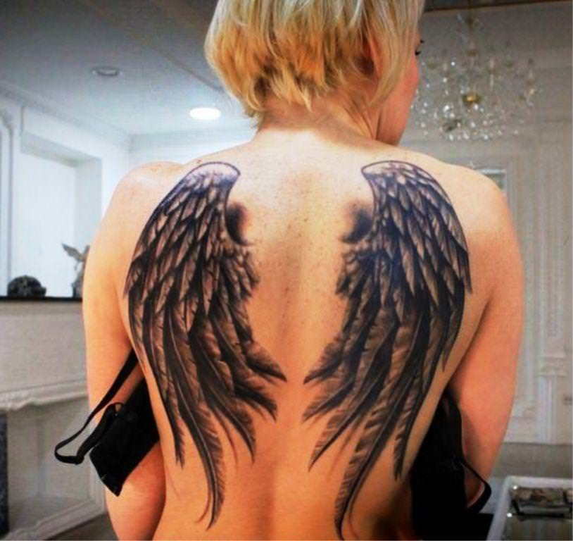 Angel Wings Tattoo On Woman Full Back