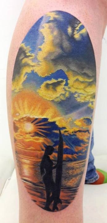 Amazing Beach Scene Tattoo On Right Half Sleeve By Andres Acosta