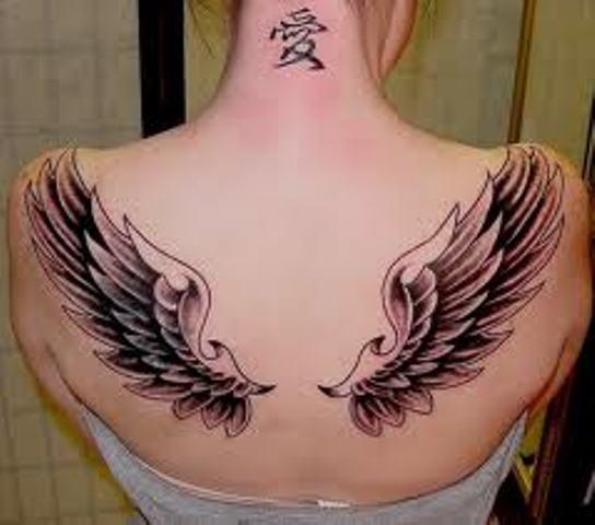Back Shoulders Angel Wings Tattoos