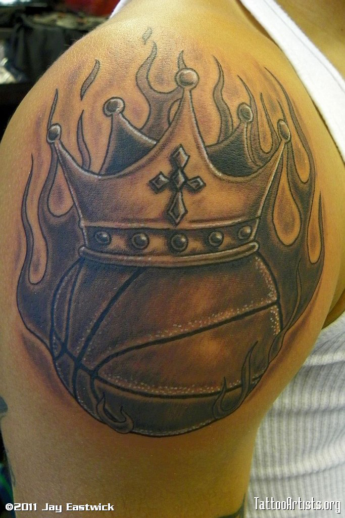 23 inspiring basketball tattoo images pictures and photos ideas rh askideas com basketball with crown tattoo basketball with crown tattoo designs
