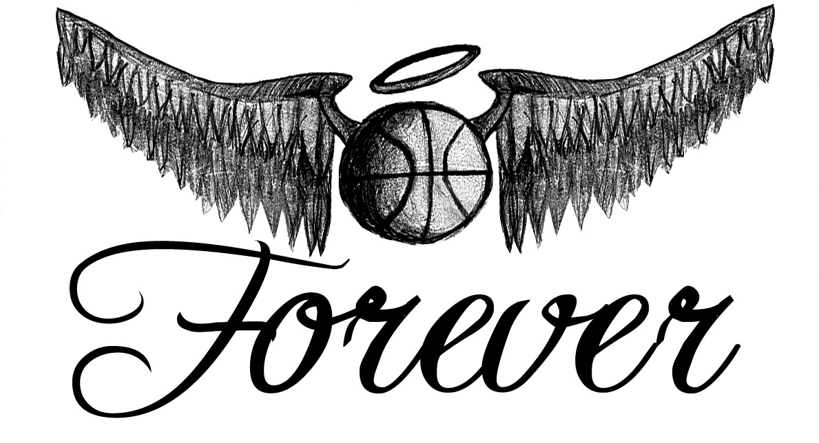 black ink basketball with angel wings tattoo design by tim. Black Bedroom Furniture Sets. Home Design Ideas