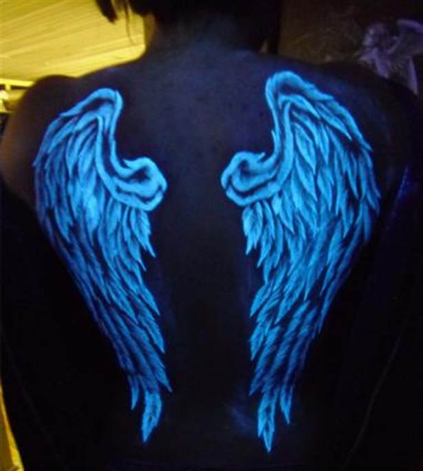 Blacklight angel wings tattoo on full back for Angel wing tattoos on back