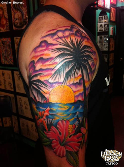Amazing beach scene tattoo on right half sleeve by andres for Beach scene tattoos