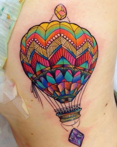 Watercolor Hot Air Balloon Tattoo On Leg By Koray