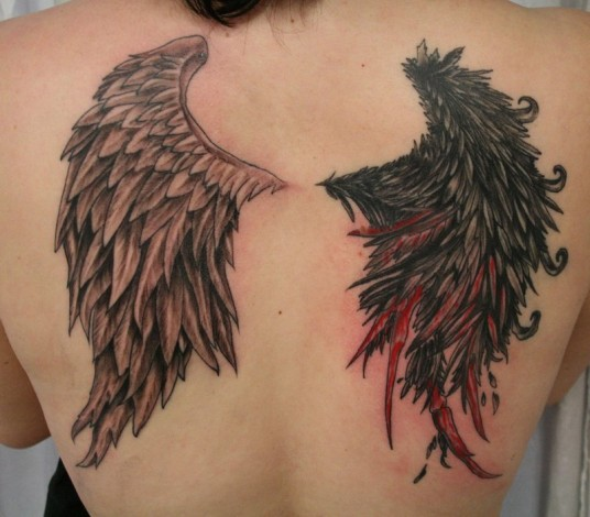 Demon And Angel Wings Tattoo On Girl Back Body