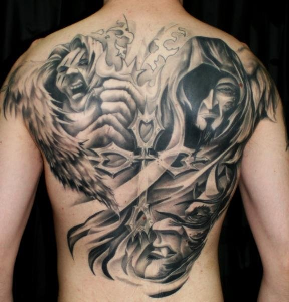 Angel And Demon Back Tattoo | www.pixshark.com - Images ...