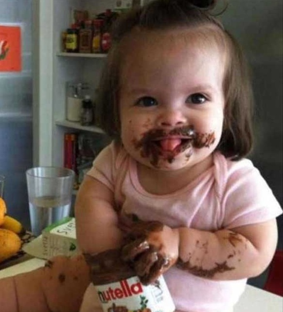 Eating Chocolate Funny Child Image