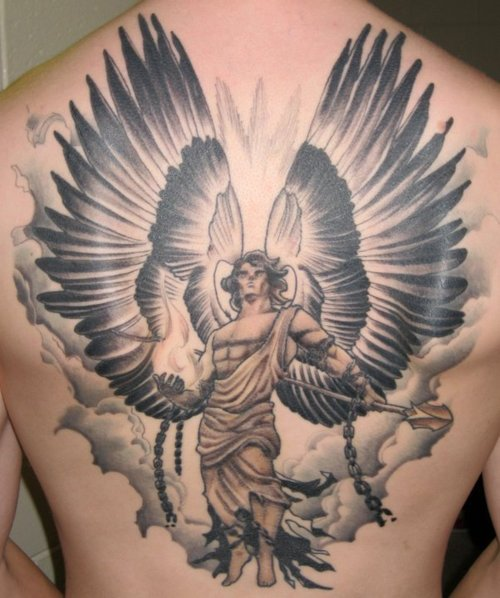 27 warrior angel tattoos designs images and ideas for Angel back tattoo