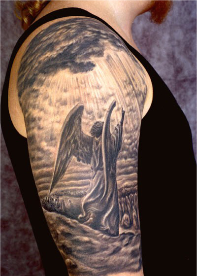 26 angel sleeve tattoos ideas ForAngel Half Sleeve Tattoo