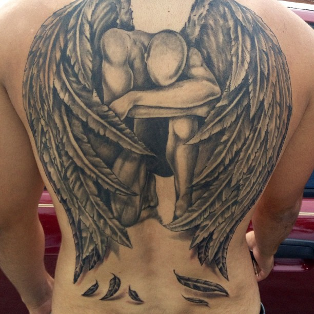 c5d50675c19b9 Grey Ink Fallen Angel Tattoo On Back Body