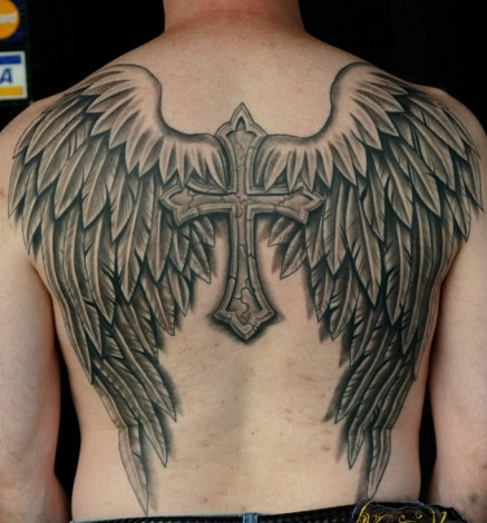 Grey Ink Stone Cross With Angel Wings Tattoo On Back Body