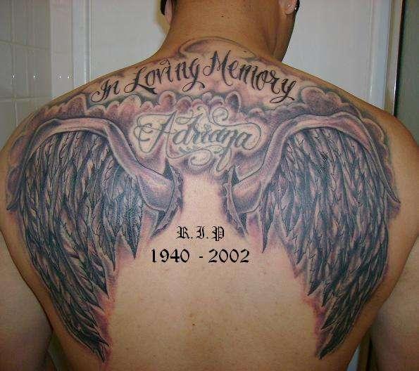 In Loving Memory Angel Wings Tattoo