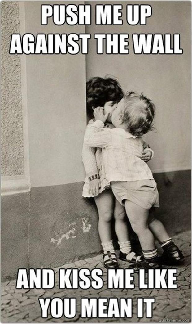 Kissing Kids Funny Meme Picture