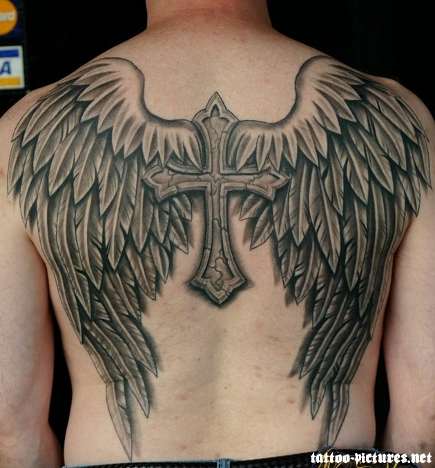 Man Full Back Body With Cross And Angel Wings