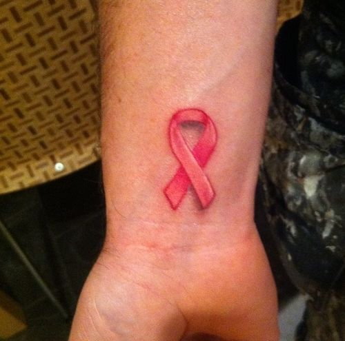 Hope cancer ribbon tattoo on wrist for Pink ink tattoo
