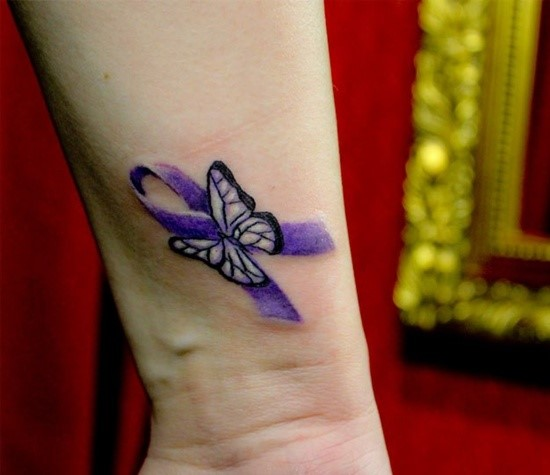 33 cute breast cancer tattoo designs images and pictures for Breast cancer butterfly tattoos