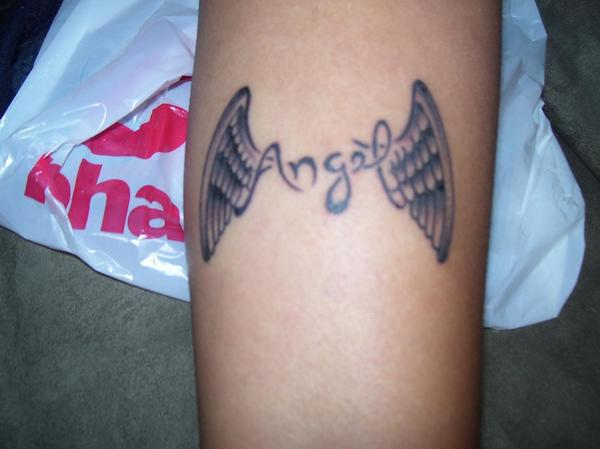 Small Angel Wings Tattoo On Forearm
