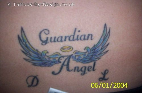 Small Guardian Angel With Wings Tattoo